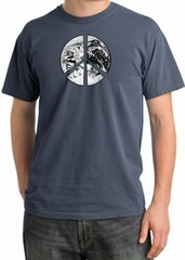 Peace Shirt Peace Earth Satellite Image Pigment Dyed Tee Scotland Blue