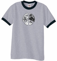 Peace Shirt Peace Earth Satellite Image Ringer Shirt Grey/Black