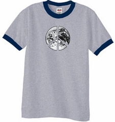 Peace Shirt Peace Earth Satellite Image Ringer Shirt Grey/Navy