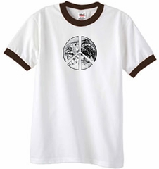 Peace Shirt Peace Earth Satellite Image Ringer Shirt White/Chocolate