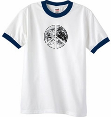 Peace Shirt Peace Earth Satellite Image Ringer Shirt White/Navy