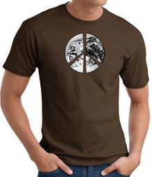 Peace Shirt Peace Earth Satellite Image Tee Brown