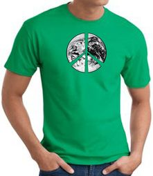 Peace Shirt Peace Earth Satellite Image Tee Kelly Green
