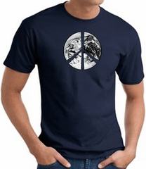 Peace Shirt Peace Earth Satellite Image Tee Navy