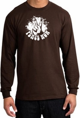 Peace Shirt Peace Now Retro Long Sleeve Tee Brown