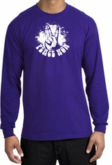 Peace Shirt Peace Now Retro Long Sleeve Tee Purple