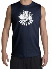 Peace Shirt Peace Now Retro Muscle Shirt Navy