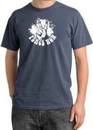 Peace Shirt Peace Now Retro Pigment Dyed Tee Scotland Blue