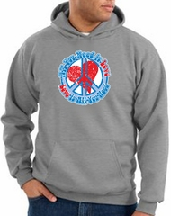Peace Sign Hoodie All You Need Is Love Hoody Athletic Heather