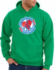 Peace Sign Hoodie All You Need Is Love Hoody Kelly Green