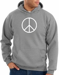Peace Sign Hoodie Basic Peace White Print Hoodie Athletic Heather