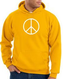 Peace Sign Hoodie Basic Peace White Print Hoodie Gold