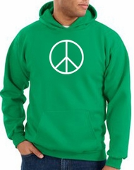 Peace Sign Hoodie Basic Peace White Print Hoodie Kelly Green