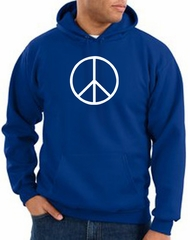 Peace Sign Hoodie Basic Peace White Print Hoodie Royal