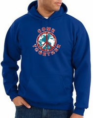 Peace Sign Hoodie Come Together Hoody Royal