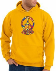 Peace Sign Hoodie Funky 70s Peace Hoody Gold