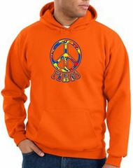 Peace Sign Hoodie Funky 70s Peace Hoody Orange