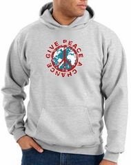Peace Sign Hoodie Give Peace A Chance Hoody Ash