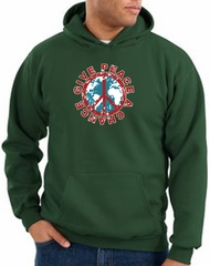 Peace Sign Hoodie Give Peace A Chance Hoody Dark Green