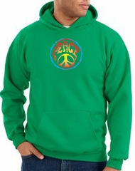 Peace Sign Hoodie Psychedelic Peace Hoody Kelly Green