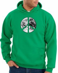 Peace Sign Hoodie Sweatshirt Earth Satellite Image Kelly Green Hoody