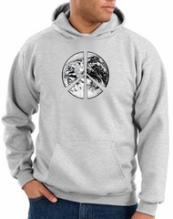 Peace Sign Hoodie Sweatshirt Earth Satellite Image Symbol Ash Hoody