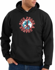Peace Sign Hoodie Sweatshirt - Give Peace A Chance Adult Hoody - Black