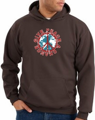 Peace Sign Hoodie Sweatshirt - Give Peace A Chance Adult Hoody - Brown