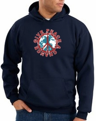 Peace Sign Hoodie Sweatshirt - Give Peace A Chance Adult Hoody - Navy