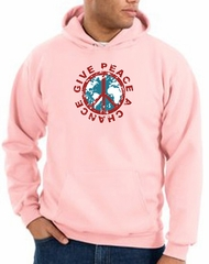 Peace Sign Hoodie Sweatshirt - Give Peace A Chance Adult Hoody - Pink