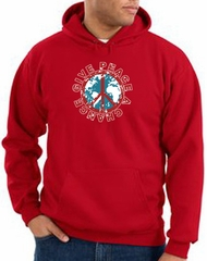 Peace Sign Hoodie Sweatshirt - Give Peace A Chance Adult Hoody - Red