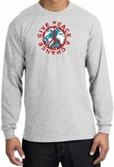 Peace Sign Long Sleeve T-shirt - Give Peace A Chance World Ash Shirt