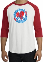 Peace Sign Raglan Shirt - All You Need Is Love Adult Tee - White/Red