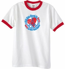 Peace Sign Ringer T-shirt - All You Need Is Love Adult Tee - White/Red