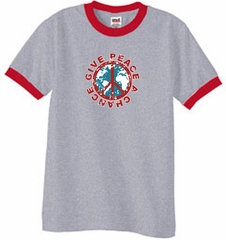 Peace Sign Ringer T-shirt - Give Peace A Chance Tee - Heather Grey/Red