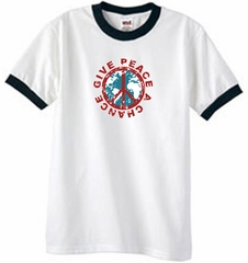 Peace Sign Ringer T-shirt - Give Peace A Chance Tee - White/Black