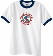 Peace Sign Ringer T-shirt - Give Peace A Chance Tee - White/Navy