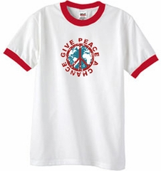 Peace Sign Ringer T-shirt - Give Peace A Chance Tee - White/Red