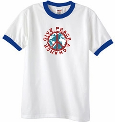 Peace Sign Ringer T-shirt - Give Peace A Chance Tee - White/Royal Blue
