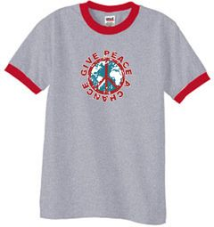 Peace Sign Ringer T-shirts - Give Peace A Chance World Shirts