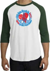 Peace Sign Shirt All You Need Is Love Raglan Shirt White/Forest