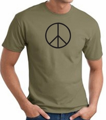 Peace Sign Shirt Basic Peace Black Print Tee Army Green