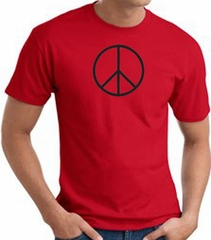 Peace Sign Shirt Basic Peace Black Print Tee Red