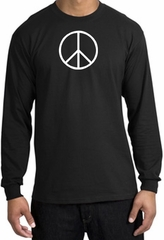 Peace Sign Shirt Basic Peace White Print Long Sleeve Shirt Black