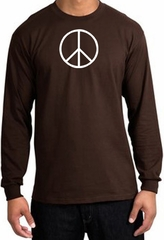 Peace Sign Shirt Basic Peace White Print Long Sleeve Shirt Brown