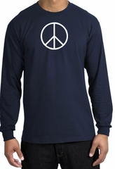 Peace Sign Shirt Basic Peace White Print Long Sleeve Shirt Navy