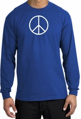 Peace Sign Shirt Basic Peace White Print Long Sleeve Shirt Royal
