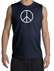 Peace Sign Shirt Basic Peace White Print Muscle Shirt Navy