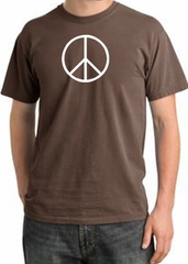 Peace Sign Shirt Basic Peace White Print Pigment Dyed Tee Chestnut