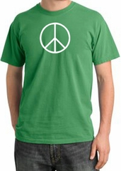 Peace Sign Shirt Basic Peace White Print Pigment Dyed Tee Piper Green